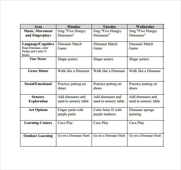 Infant Lesson Plan Templates Sample toddler Lesson Plan 9 Example format