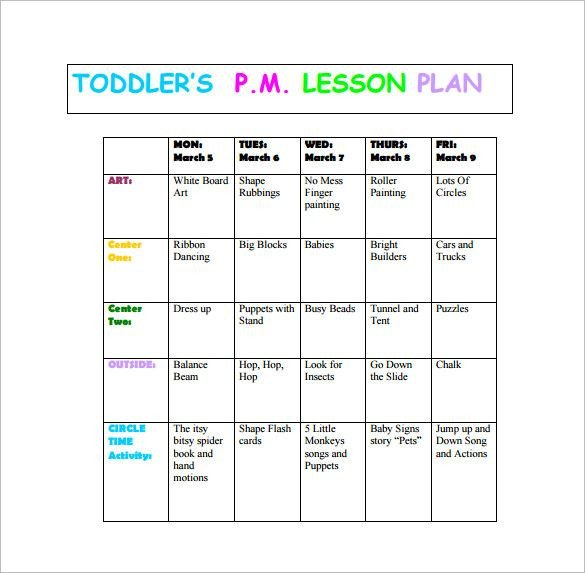 Infant Lesson Plan Templates toddler Lesson Plan Template – 10 Free Word Excel Pdf