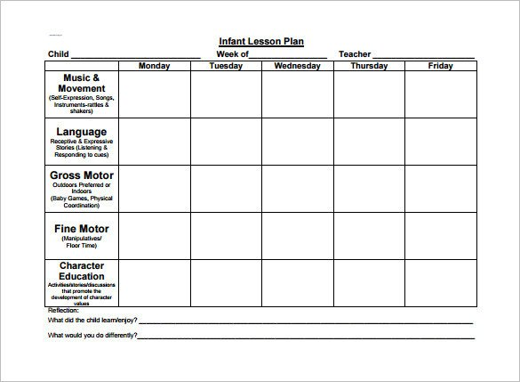 Infant Lesson Plan Templates toddler Lesson Plan Template 9 Free Pdf Word format