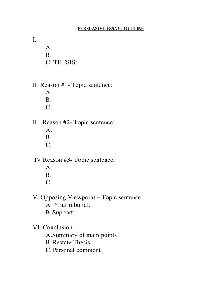 Informative Essay Outline Template Fill In Outline