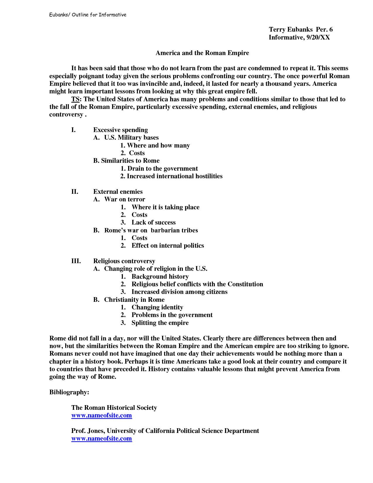 Informative Essay Outline Template Informative Speech Outline