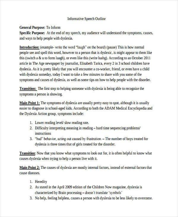 Informative Speech Outline Examples 10 Informative Speech Examples & Samples Pdf Doc