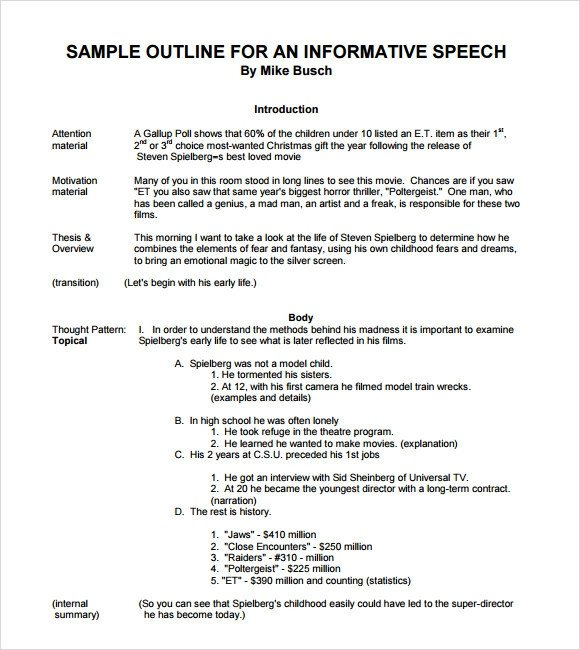 Informative Speech Outline Examples Sample Informative Speech 11 Documents In Pdf Word