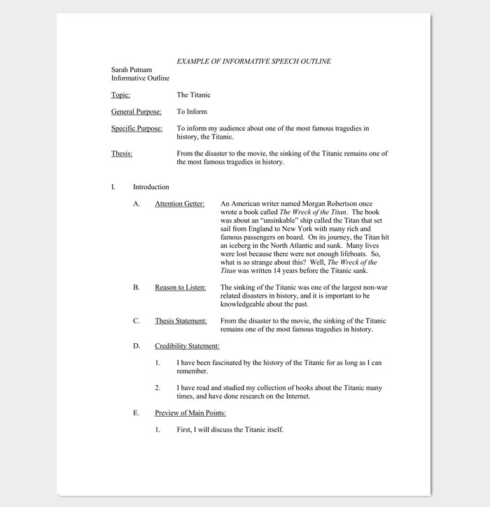 Informative Speech Outline Examples Speech Outline Template 38 Samples Examples and formats