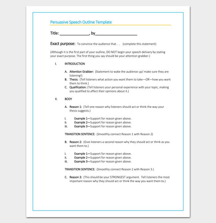 Informative Speech Outline Template Persuasive Speech Outline Template 15 Examples Samples