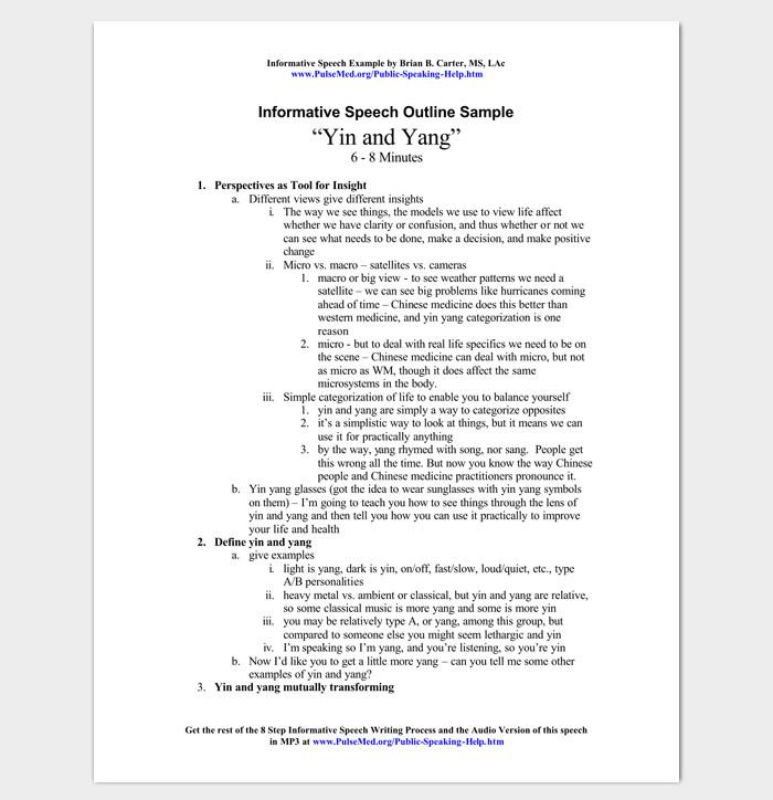 Informative Speech Outline Template Speech Outline Template 38 Samples Examples and formats