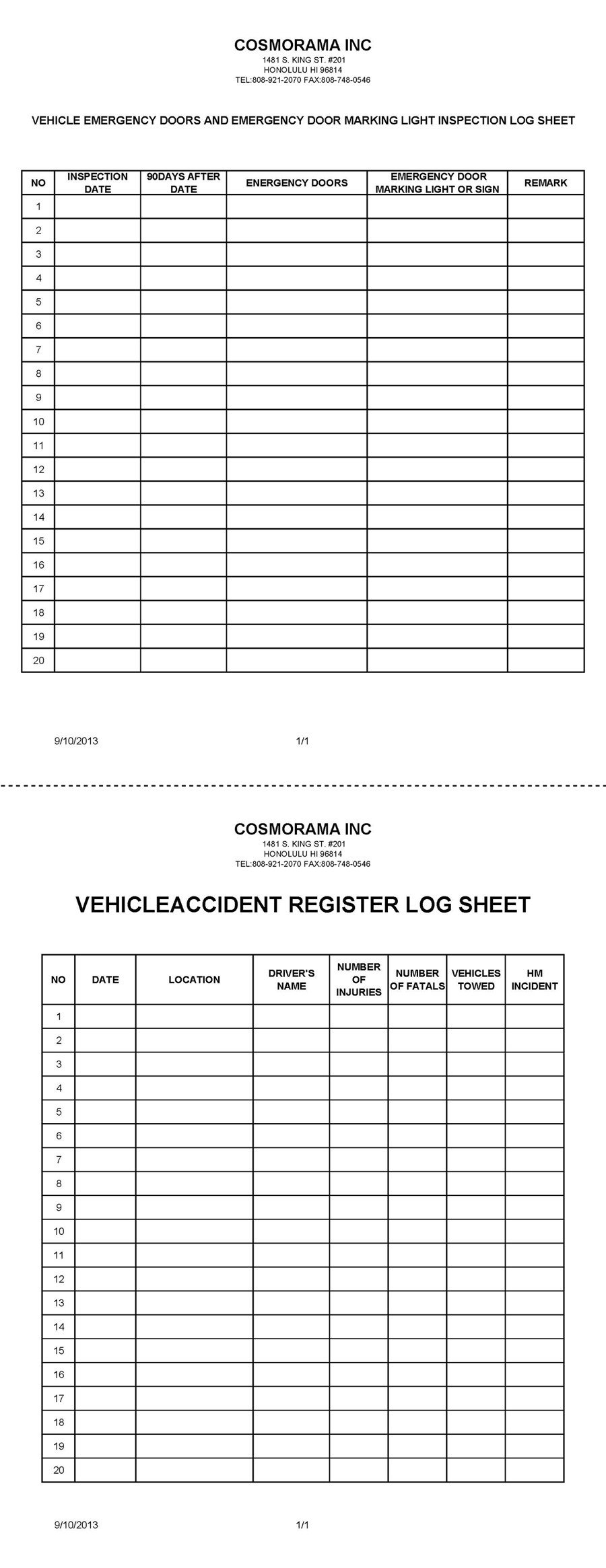 Inspection Log Sheet Cosmorama