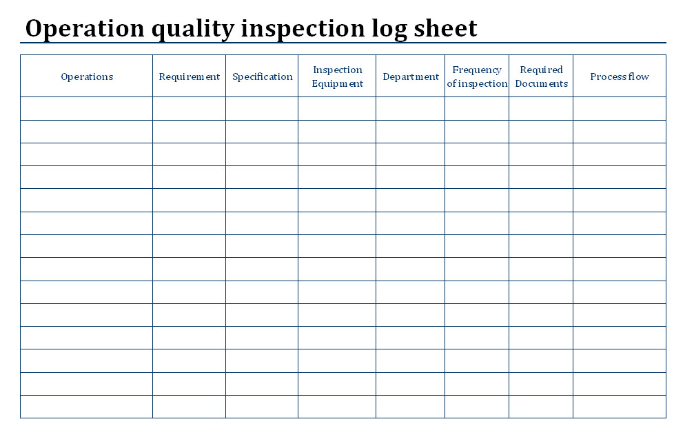 Inspection Log Sheet Operation Quality Inspection Process