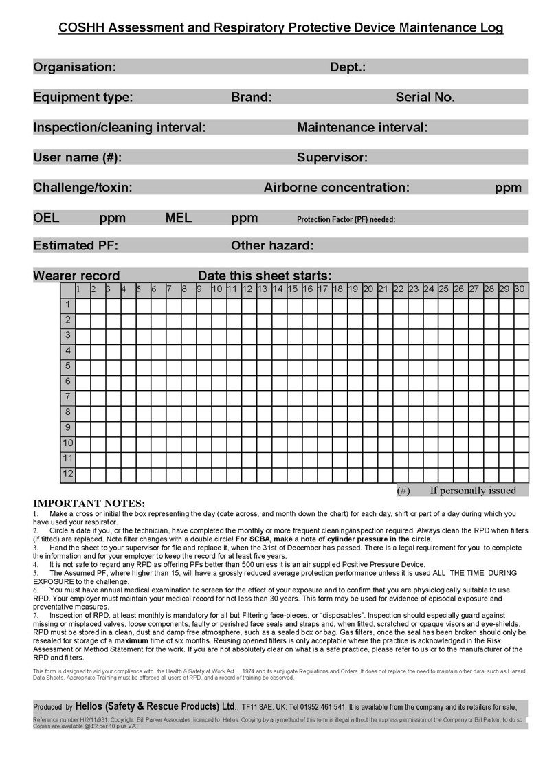 Inspection Log Sheet Respiratory Protection Rpd Inspection and Record Sheet