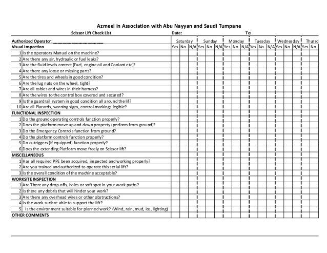 Inspection Log Sheet Scissor Lift 2 Daily Inspection Log