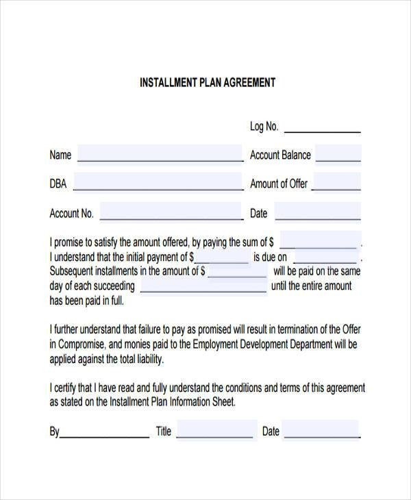Installment Payment Agreement Template 7 Installment Contract form Samples Free Sample