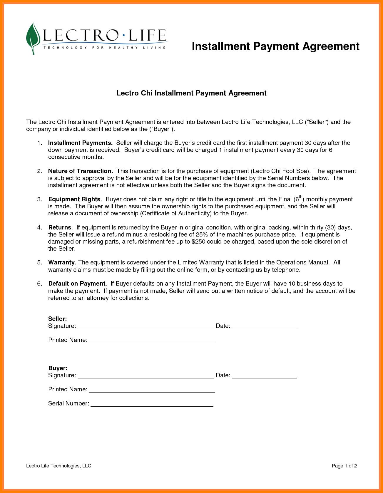 Installment Payment Agreement Template 7 Installment Payment Plan Agreement Template
