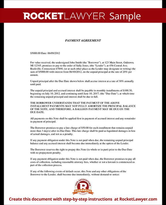 Installment Payment Agreement Template Installment Agreement Payment Agreement Contract
