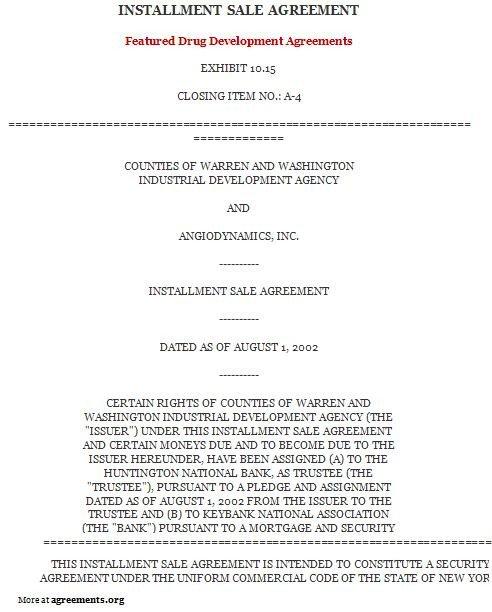 Installment Payment Agreement Template Installment Purchase Agreement Sample Installment