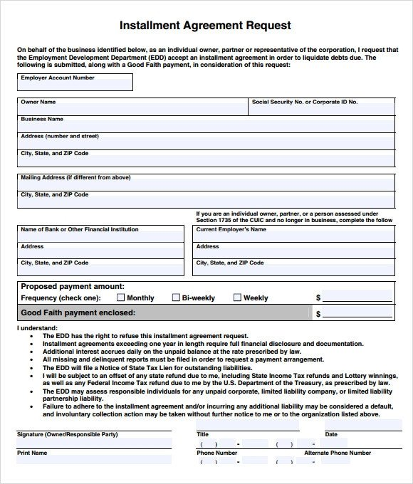 Installment Payment Agreement Template Sample Installment Agreement 5 Documents In Pdf Word