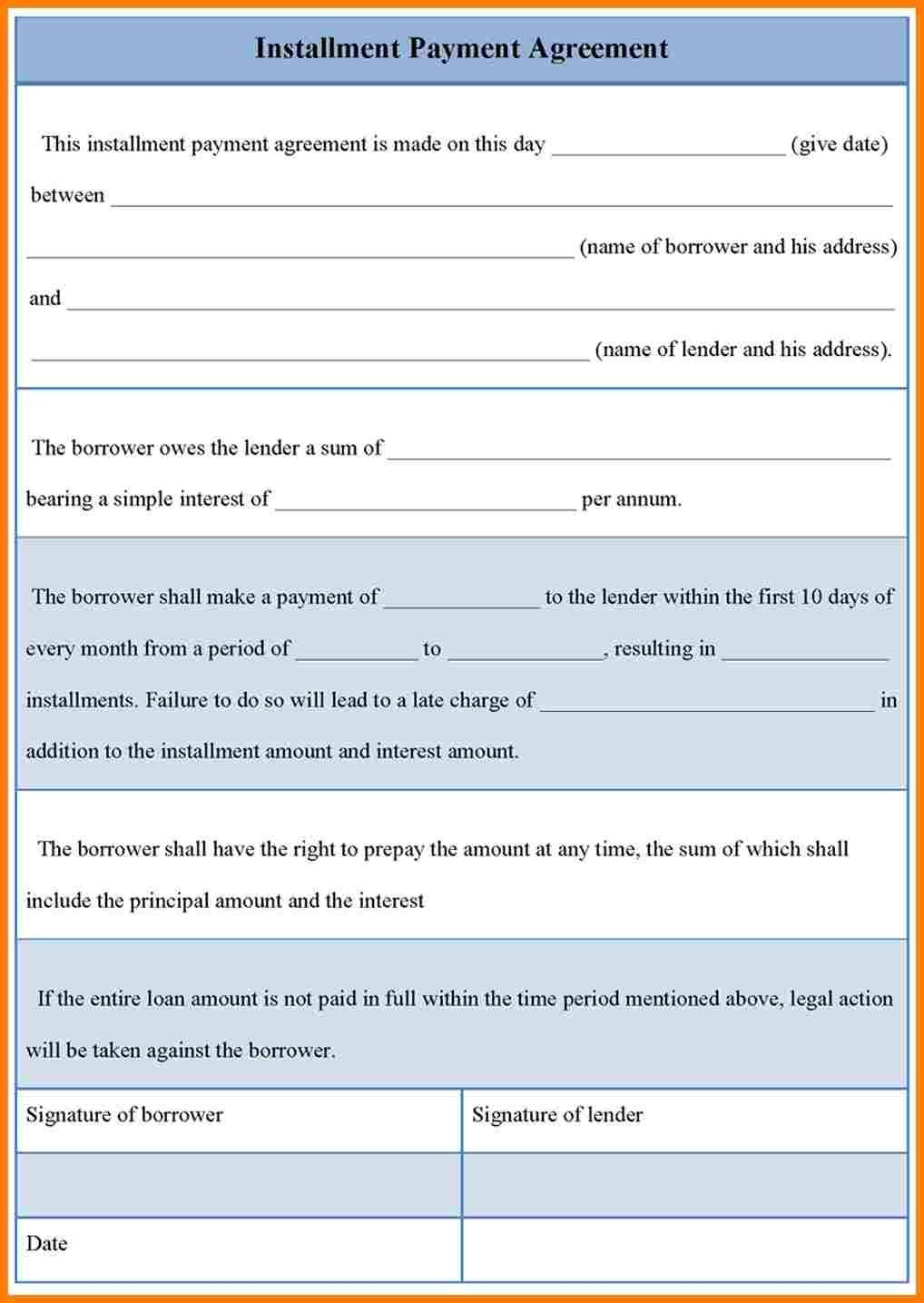 Installment Payment Contract Template 8 Installment Payment Contract Template
