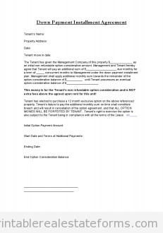 Installment Payment Contract Template Free Printable Down Payment Installment Agreement