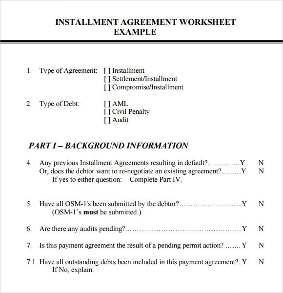 Installment Payment Contract Template Installment Agreement – 7 Free Samples Examples format