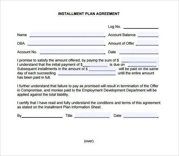 Installment Payment Contract Template Payment Plan Agreement Template – 21 Free Word Pdf