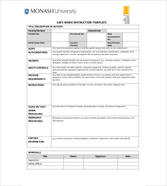 Instruction Manual Template Word 6 Instruction Templates Doc Pdf Excel