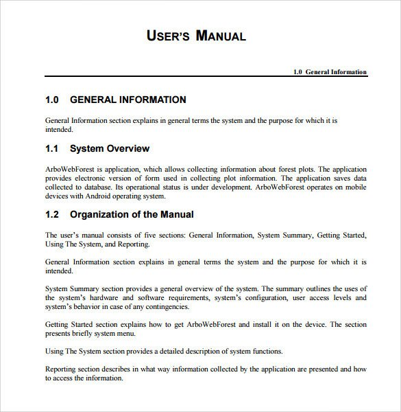 Instruction Manual Template Word Sample User Manual 9 Documents In Pdf
