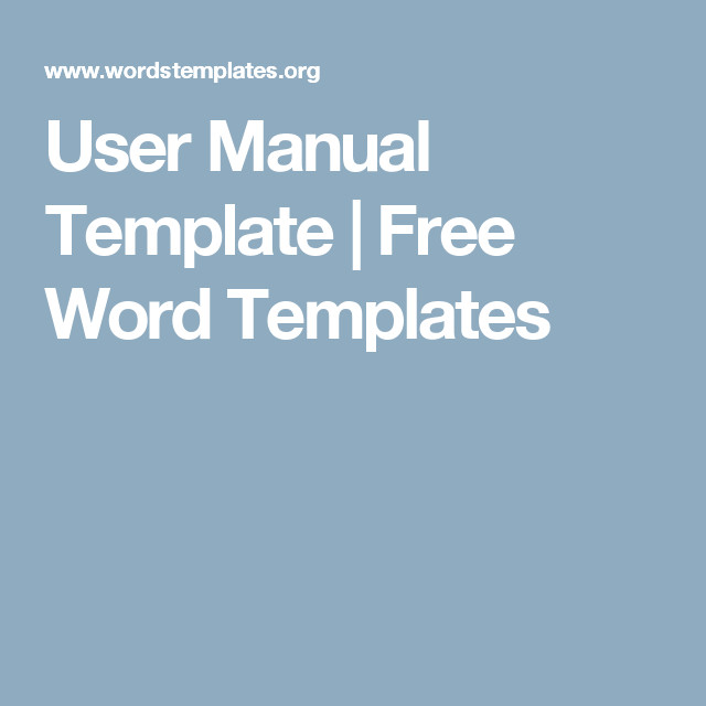 Instruction Manual Template Word User Manual Template Free Word Templates