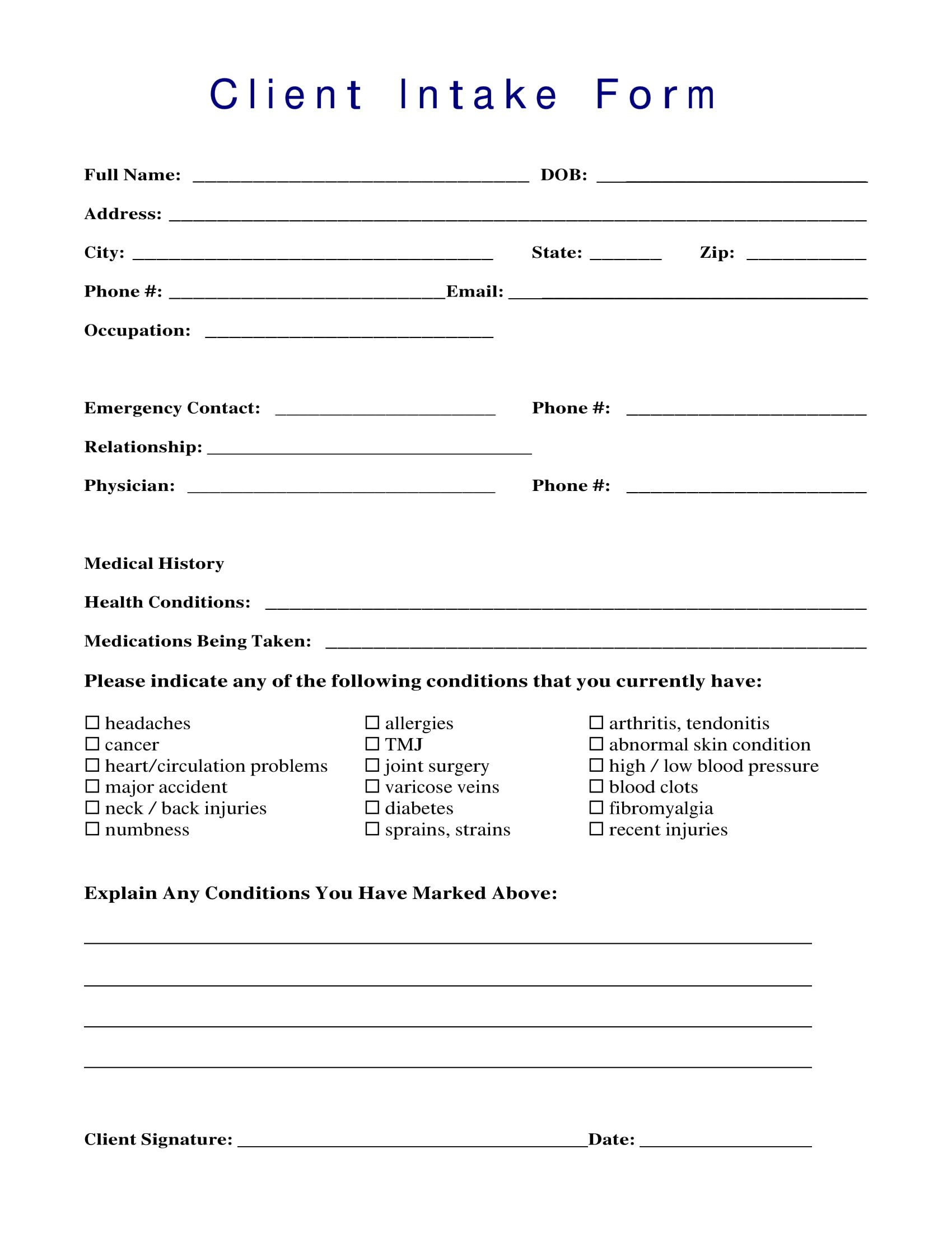 Intake form Template Word 13 Client Intake forms Pdf Doc