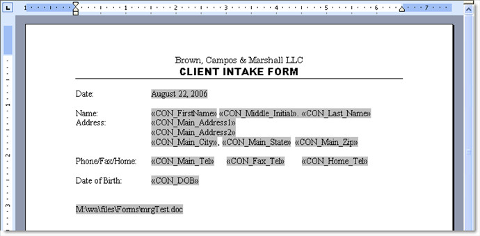 Intake form Template Word Client Intake form — Active Practice