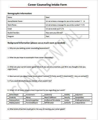 Intake form Template Word Sample Counseling Intake forms 9 Free Documents In Word