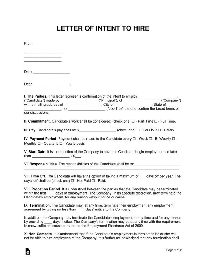 Intent to Hire Letter Free Intent to Hire Letter Of Intent Template Pdf