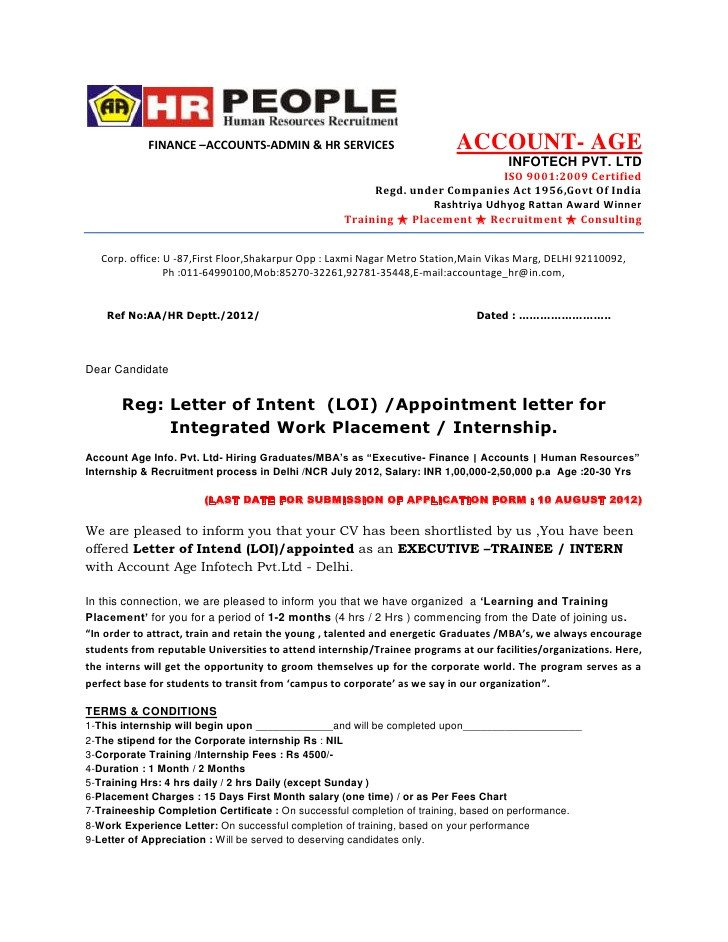 Intent to Hire Letter Letter Of Intent Loi Appointment Letter