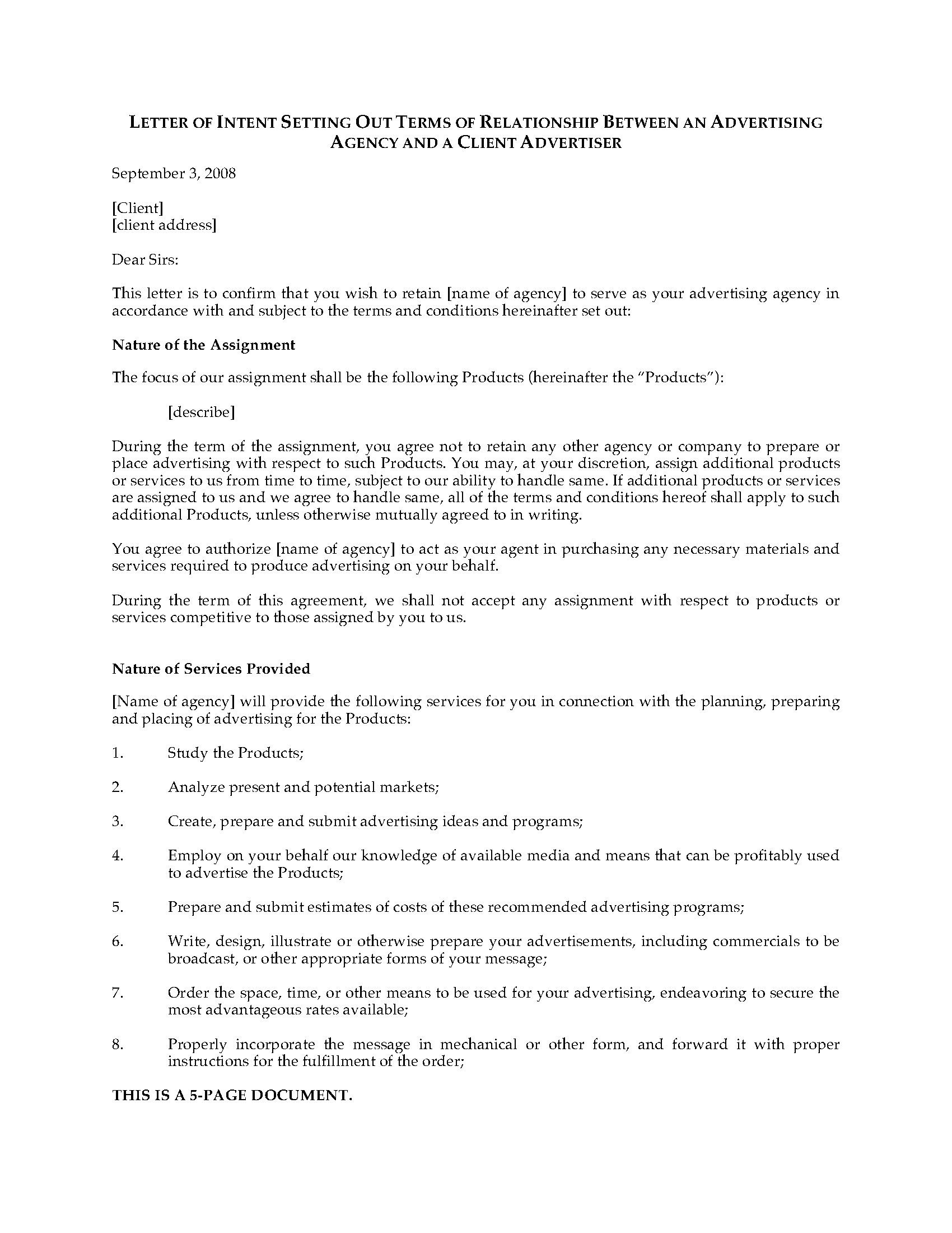 Intent to Hire Letter Letter Of Intent to Hire Advertising Agency