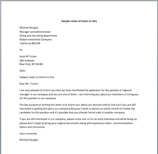 Intent to Hire Letter Sample Letter Of Intent to Hire Smart Letters