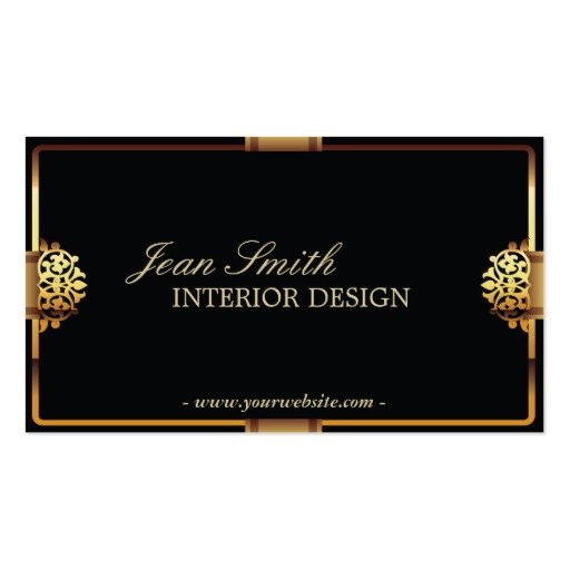 Interior Design Business Cards Deluxe Gold Frame Interior Design Business Card