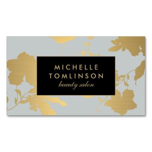Interior Design Business Cards Elegant Gold Floral Pattern Pale Gray Designer Business