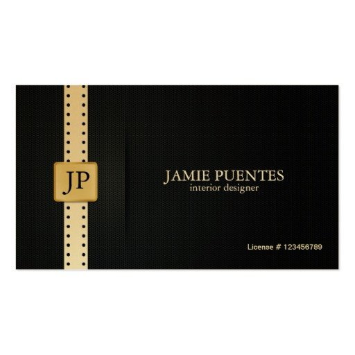Interior Design Business Cards Metallic Platinum Gold & Black Interior Design Double