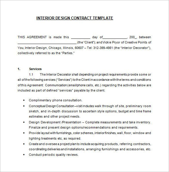 Interior Design Contract Sample 7 Interior Designer Contract Templates Word Pages Pdf