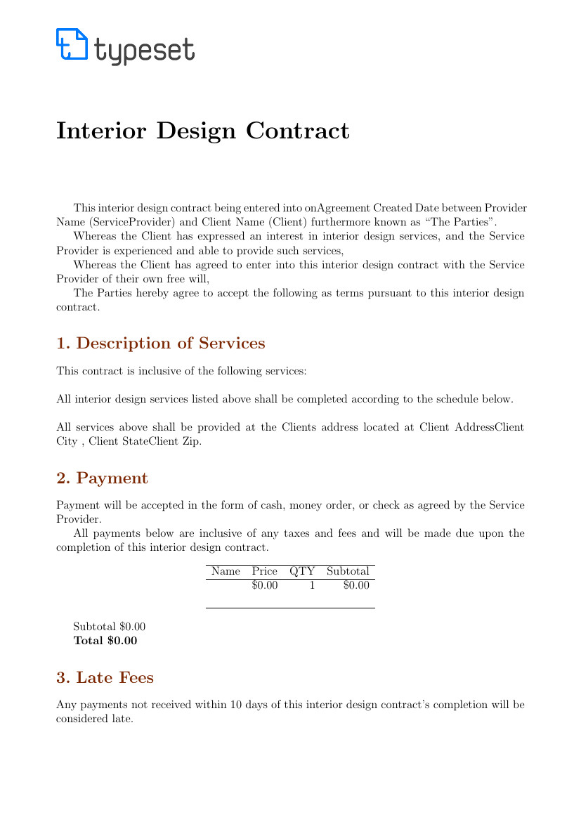 Interior Design Contract Sample Contracts Interior Design Contract Template Template