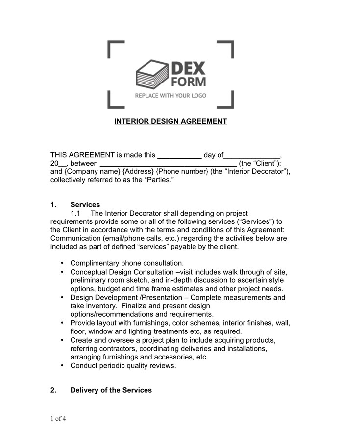 Interior Design Contract Sample Interior Design Agreement Sample In Word and Pdf formats