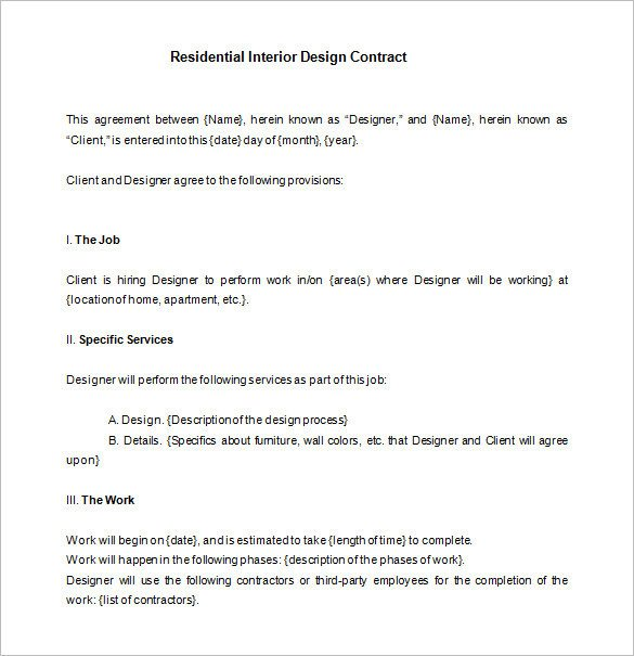 Interior Design Contract Sample Interior Design Contract