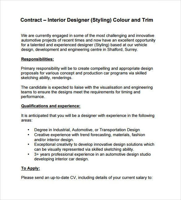 Interior Design Contract Sample Interior Design Contract Template 12 Download Documents