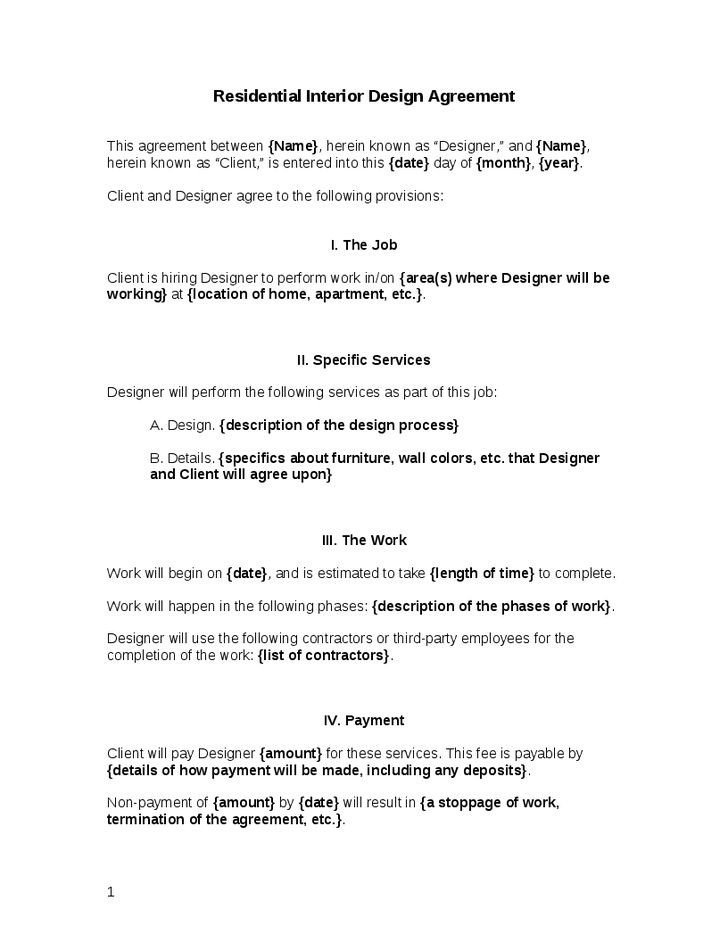 Interior Design Contract Templates 25 Best Contract Agreement Ideas On Pinterest