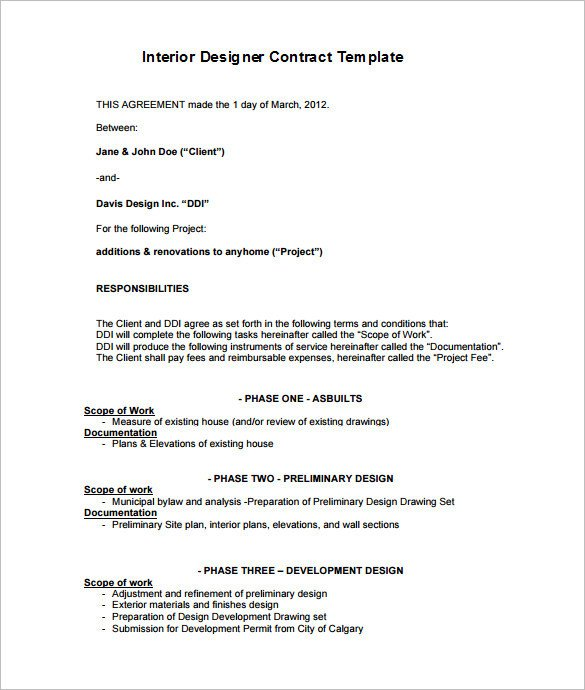 Interior Design Contract Templates 7 Interior Designer Contract Templates Word Pages Pdf