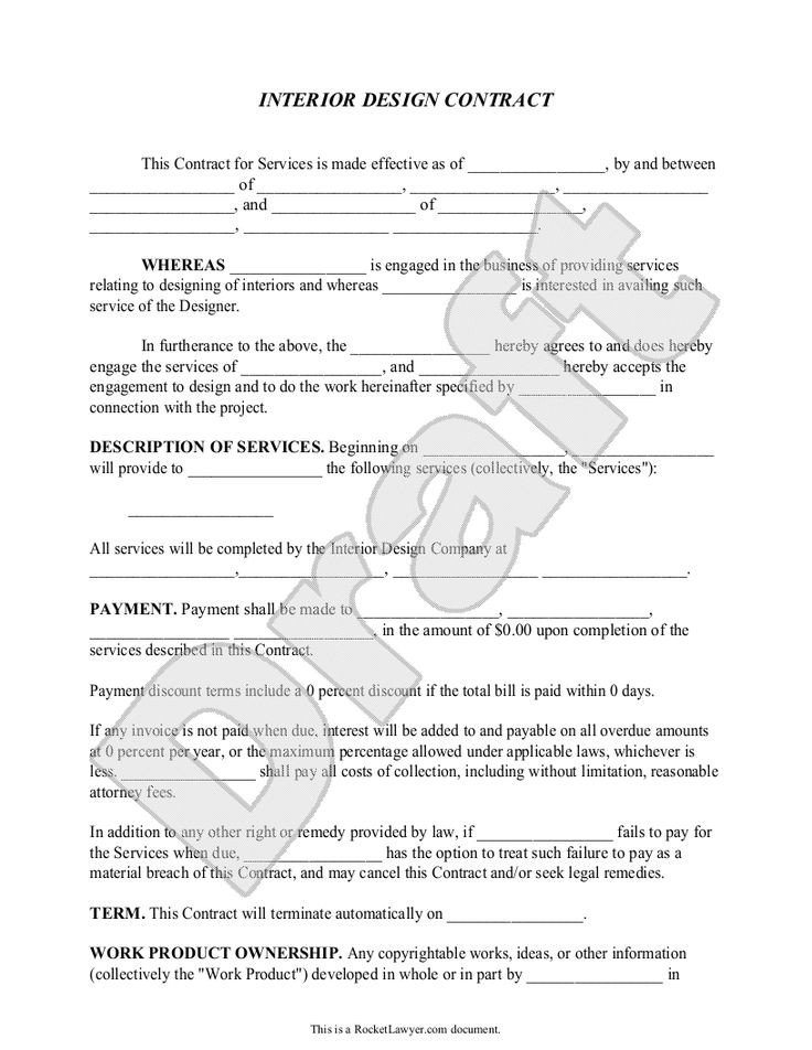 Interior Design Contract Templates Interior Design Contract Agreement Template with Sample