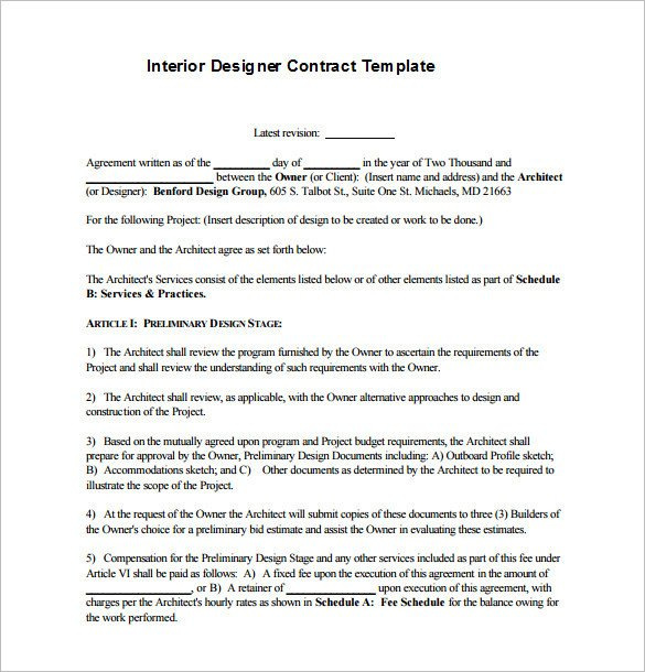 Interior Design Contract Templates Interior Design Contract