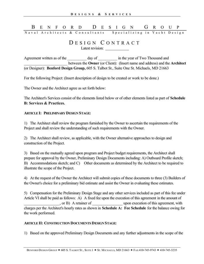 Interior Design Contracts Templates Download Basic Interior Designer Contract Template Pdf
