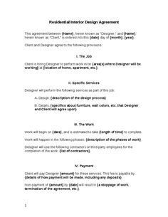Interior Design Contracts Templates Interior Design Contract Agreement Template with Sample