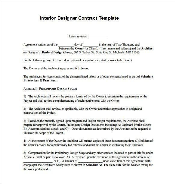 Interior Design Contracts Templates Interior Design Contract