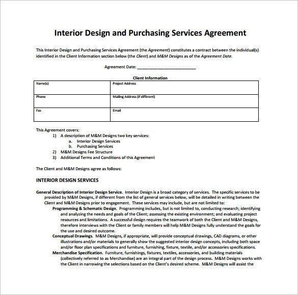 Interior Design Contracts Templates Interior Design Contract Template 12 Download Documents