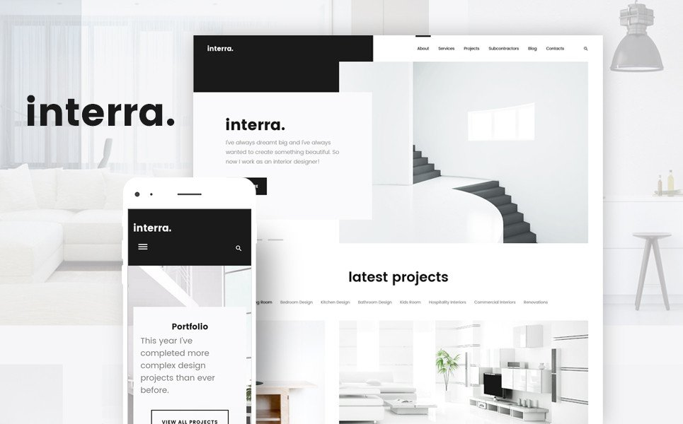 Interior Design Portfolio Template Interra the Best Interior Design Wordpress theme
